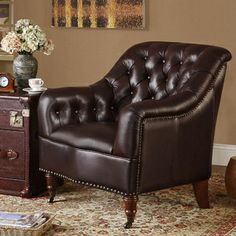 Cologne Top Grain Leather Accent Chair   Overstock.com Shopping - Great Deals on Chairs $634.99