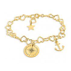 Wunderschönes Armband komplett aus 925 Sterling Silber hochwertig vergoldet. Auf dem ca. 2,0 cm großen Plättchen ist ein Kompass sowie Koordinaten graviert. Daneben hängt ein kleiner Anker.
