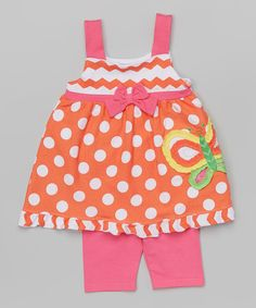 Love this Orange Butterfly Tank & Shorts - Infant, Toddler & Girls by Nannette Girl on #zulily! #zulilyfinds