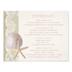 Burlap Wedding Reception Cards Vintage Beach Itinerary Card