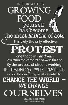 In our society, growing food yourself has become the most radical of acts.  It is truly the only effective protest  one that can -- and will -- overturn the corporate powers that be.  By the process of directly working in harmony with nature, we do the one thing most essential to change the world -- we change ourselves.  -- Jules Dervaes