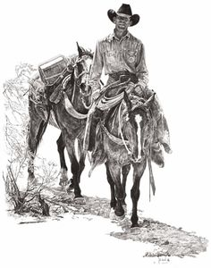 Bill Owen ~ The Cowboy Artist Art Sketches, Art Drawings, Cowboy Artwork, Cowboy Pictures, Into The West, Cowboys And Indians, Art Themes, Horse Art, Western Cowboy