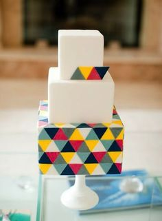 A really neat idea. Maybe for a shower | Graphic Wedding Cake | 27 Ideas For Adorable And Unexpected Wedding Cakes