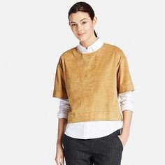 Women short sleeve faux suede t blouse