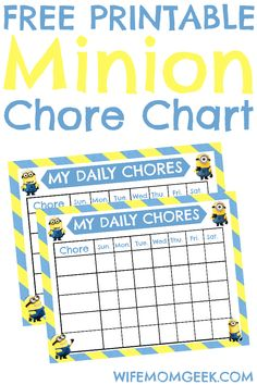 These free printable Minion chore charts are just what you need to motivate your little minions to do their chores. So cute!