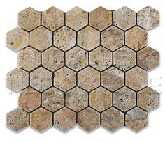 Scabos Travertine Tumbled 2'' Hexagon Mosaic Tile
