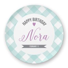 Aqua Gingham and Purple Child's Custom Birthday Plate, Custom Melamine Birthday Plate, Custom Birthday Plate Digital File for Melamine Plate