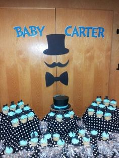 top hat Baby Shower Decorations | top hats mustache bowtie Blue and Black & White Polka dots / Baby ...