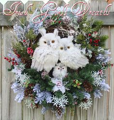 MADE TO ORDER Rustic Woodland Winter Owl Family Wreath Owl