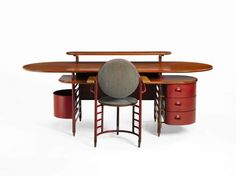 Frank Lloyd Wright-designed desk and office chair