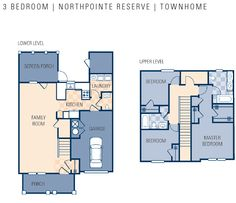NCBC Gulfport – Northpointe Preserve Neighborhood: 3 bedroom townhouse floor plan.
