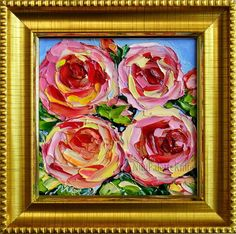 Pink Rose Oil Painting Small Original Mini by NuuPaletteKnife