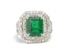 5.47 ct Emerald & 2.28 ctw Diamond 18K White Gold Ring