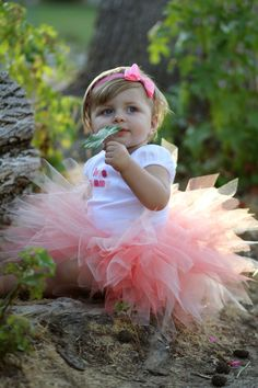Baby Peach Tutu Skirt For Birthdays And Other door SimplyElegant93
