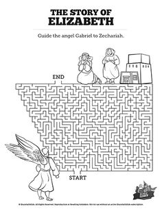 Luke 1 The Story of Elizabeth Bible Maze: Featuring artwork from The Story of Elizabeth Sunday School lesson this Luke 1 Kids Bible Maze is perfect for your upcoming Bible lesson. Blending a little challenge with a lot of fun this Kids Bible activity will be a hit with your class! Bible Activities For Kids, Mazes For Kids, Bible For Kids, Sunday School Lessons, Lessons For Kids, Bible Lessons, Christian Kids, Catholic School, John The Baptist