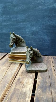 Cast Iron Horse Head Bookends, Equestrian Bookshelf Statues, Library Decor by ElisabethMacBeth on Etsy