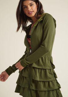 Tier Me Roar Jacket in Olive in 4X - Hoodie Jacket by ModCloth - Plus Sizes 0fb561b4fc07
