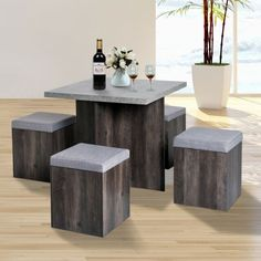 Simple Living Baxter Dining Set with Storage Ottomans Table Room Chairs for sale online Kitchen Table Chairs, Kitchen Table Makeover, Dinning Table, Dining Set, Room Chairs, Table And Chairs, Kitchen Dining, Space Saving Dining Table, Dining Decor