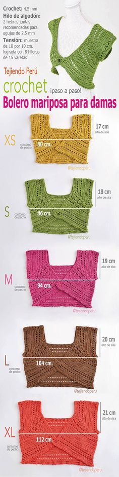#Crochet: bolero mariposa para damas tejidos a crochet en 5 tallas! Paso a paso… ☂ᙓᖇᗴᔕᗩ ᖇᙓᔕ☂ᙓᘐᘎᓮ http://www.pinterest.com/teretegui