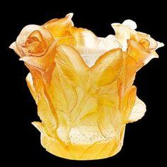 Daum Crystal Roses Amber Candleholder