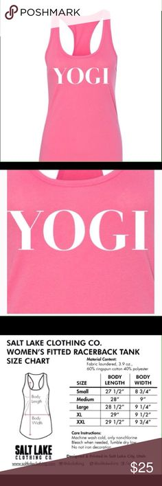 """""""YOGI"""" Pink Racerback Tank  Size XL Cute tank, made of soft cotton mix. Size chart included. Size XL. Salt Lake Clothing Tops Tank Tops"""