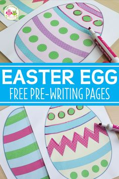 Here are some great printable Easter activities that will help your kids work on developing handwriting skills. Kids can trace a variety of lines on these free Easter egg pre-writing practice pages. Easter Activities For Preschool, Montessori Activities, Spring Activities, Motor Activities, Preschool Writing, Preschool Projects, Toddler Activities, Kids Crafts, Pre Writing Practice