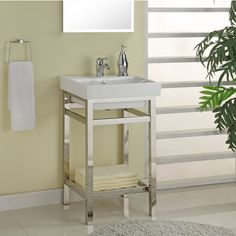 The South Beach 21'' Satin or Polished Stainless Steel Console for Milano Sink by Empire can remodel your bathroom for a fresh and illuminating décor. Find exclusive offers and free shipping on orders over $99 on Empire Bathroom Vanities when you shop at KitchenSource.com