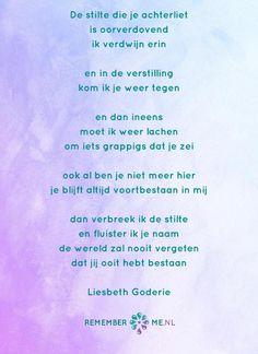 Het gedicht 'Oorverdovende stilte' over het afscheid, het verdriet en het gemis na de dood van een geliefde. Lees meer op: http://www.rememberme.nl/gedichten-over-rouw-en-verlies/
