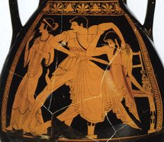 Orestes kills Aegisthus. (On the left Chrysothemis). Red-figure pelike. Detail. Attic. By the Berlin Painter. Clay. Ca. 500 B.C. Height 35 cm, diameter 27 cm. Inv. No. IV 3725.Vienna, Museum of Art History, Collection of Classical Antiquities.