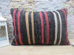 ethnic kilim pillow / lumbar pillow / 16x24 naturel pillow / ottoman kilim pillow / striped pillow / decorative kilim pillow / code 2674 Patio Pillows, Rustic Pillows, Sofa Throw Pillows, Wool Pillows, Bohemian Pillows, Lumbar Pillow, Decorative Pillows, Aztec Pillows, Geometric Pillow