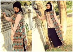 tribal long vest hijab look, Modest hijab outfits by Devushka http://www.justtrendygirls.com/modest-hijab-outfits-by-devushka/