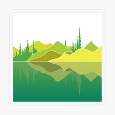 Illustration of a lake scene and a reflection. The artwork makes use of simple lines, a lime colour pallet and geometric pattern. Did you know that lakes are large bodies of water that are surrounded by land and are not part of an ocean?  #stickers #lakescene #murkywater #foresttrees #mountains #reflections #naturelover #geometricpattern #green #shades of lime #simplistic lines #aesthetic #minimalist #visco #tiktok Green Shades, Simple Lines, Color Pallets, Transparent Stickers, Vignettes, Lakes, Bodies, Reflection, Minimalist