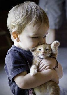 Baby + Cat = c u t e  Kid with kitten <3