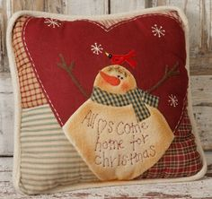Country Primitive Christmas Snowman Pillow All Hearts