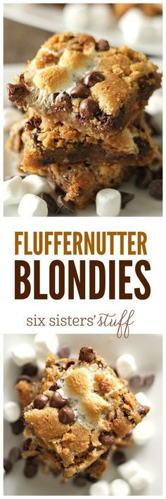 Fluffernutter Blondies on SixSistersStuff.com - peanut butter, marshmallows, and chocolate!