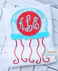 Jellyfish Monogram Applique $ REPIN THIS then click here: https://creativeappliques.com/