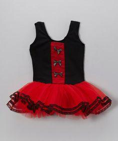 Look what I found on #zulily! Black & Red Bow Skirted Leotard - Toddler & Girls #zulilyfinds