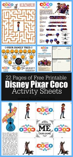 Free Disney Pixar Coco Coloring Pages, Coco Activity Sheets, Coco Recipe Cards, Coco Craft Tutorial. www.anytots.com #PixarCoco #FreePrintable #ColoringPages