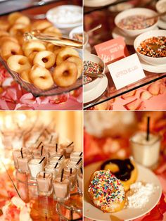 donuts station for late night treats.  top your own donuts and mini-milkshakes.