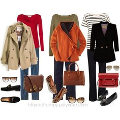 Casual , yet polished layered outfits - Fifty, not Frumpy. All these are cute, cute cute. Love them!!!