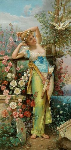 Hans Zatzka (1859–1945) - painting as- Joseph Bernard- Woman w Bow & Heart Target
