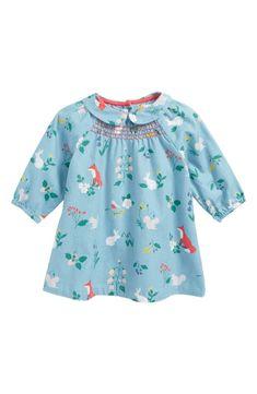 Main Image - Mini Boden Printed Smock Dress (Baby Girls & Toddler Girls)
