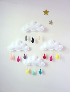 Felt clouds and coloured raindrops.