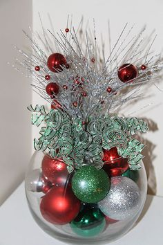 Christmas Centerpiece Red Green and Silver by PreserveMyMemories