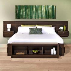 Bed Headboard Wooden, Floating Headboard, King Size Headboard, Panel Headboard, Headboards For Beds, Bookcase Headboard, Headboard Ideas, Floating Wall, Floating Nightstand
