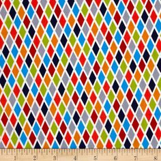 Michael Miller It's A Boy Thing Rhombus Blue from @fabricdotcom  Designed for Michael Miller, this cotton print fabric is perfect for quilting, apparel and home decor accents. Colors include white fire engine red, dove grey, lime green and shades of orange and blue.
