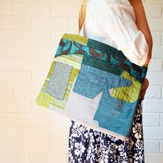 Upcycled Textile Art Teal Green patchwork Reclaimed fabric Large tote large Textile Art bag — JuanitaTortilla