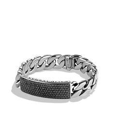 Pavé Curb Chain ID Bracelet with Black Diamonds