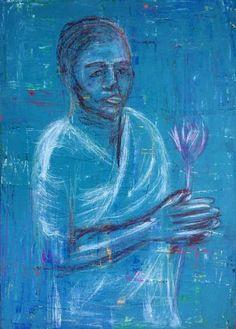 "Saatchi Art Artist Ilaria Berenice; Painting, ""Sri Lanka woman blue"" #art"