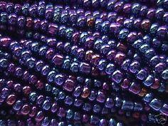 1/0 Indigo Blue Plum Metallic Rainbow Czech Crow Beads